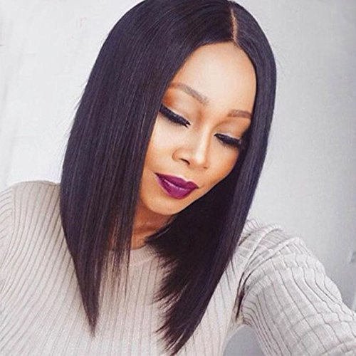 Ten Chopstics Short Bob Human Hair Wigs For Black Women Full Lace Wigs Silky Straight Lace Front Wigs Baby Hair Natural Glueless Cheap Brazilian Hair100Virgin Unprocessed Bleached Knots Middle Part 10 by Ten Chopstics
