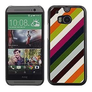 Cubierta de la caja de protección la piel dura para el HTC ONE M8 2014 - lines pastel colors clean
