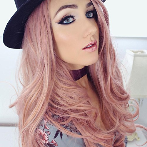 [Heahair Fashion Wigs Hair Colorful Synthetic Lace Front Wigs (Rose Gold wig)] (Chibi Halloween Costume)