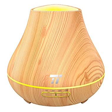Essential Oil Diffuser, TaoTronics 400ml Aroma Diffuser for Aromatherapy (Noiseless High & Low Mist Humidifier, 14 Hours Continuous Mist, PP Build, 7 Light Colors, Low Water Protection)