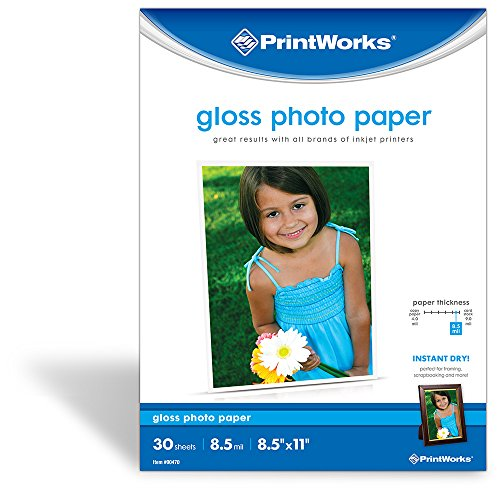 """Printworks Gloss Photo Paper for Inkjet Printers, 8.5 mil, 30 Sheets, 8.5"""" x 11"""" (00470)"""