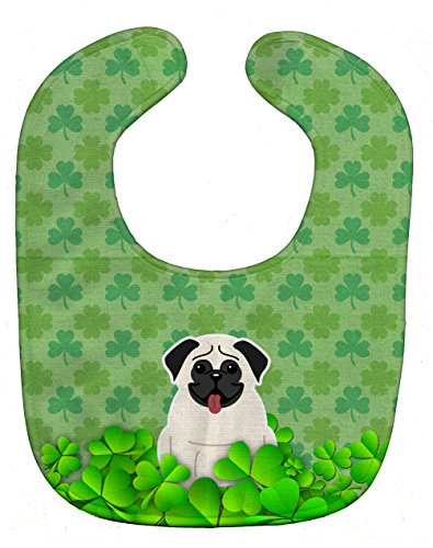 Caroline's Treasures Shamrocks Baby Bib, Pug Cream, Large -