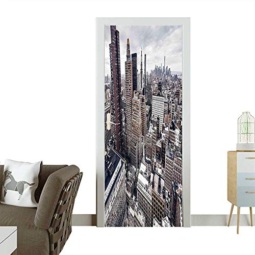 Homesonne Waterproof Decoration Door DecalsYork City American Metropolitan State Scenery Art Photo Charcoal Grey White and Redwood Perfect ornamentW30 x H80 INCH