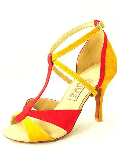 ShangYi Customizable Women's Dance Shoes Latin/Salsa Suede/Leatherette Customized Heel Black/Yellow Black KWcB6RH2
