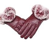 Autumn Winter Warm Rabbit Fur Mittens Gloves for Women Lady Black PU Leather