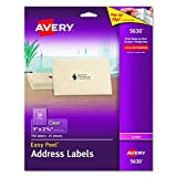 """Avery  Clear Easy Peel Address Labels for Laser Printers  1"""" x 2-5/8"""", Pack of 750 (5630)"""