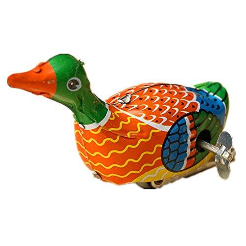 Vintage Reproduction Tin - Retro Vintage Clockwork Metal Floating Duck Goose Wind Up Tin Toys