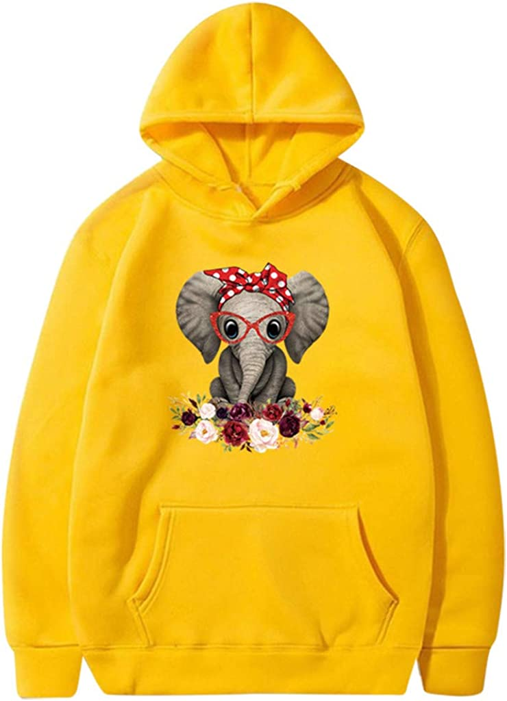 F/_topbu Hooded Sewatshirt for Women O-Neck Long Sleeve Hoodies Elephant//Floral Printed Top Shirt Casual Pullover Blouse