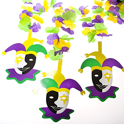Oriental Trading Company 12Ft. Mardi Gras Flower Garland with Jester Cutouts Decoration (Jester Out Cut)