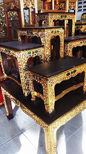 Set Of Altar Table, Thai Buddha Show Table Set Made from Teak Wood Carving 47''L x 25''W inches (Large) by Conserve Brand