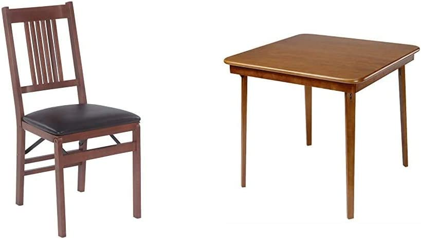 Stakmore True Mission Folding Chair Finish, Set of 2, Fruitwood & ore Straight Edge Folding Card Table Finish, Fruitwood