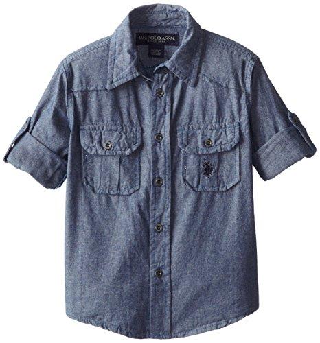 U.S. Polo Assn. Boy's Long Sleeve Chambray Sport Shirt,SF78-Blue, 5/6
