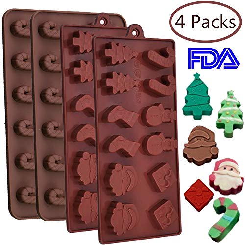 4PCS Christmas Chocolate Candy Silicone Molds - Holiday Baking Ice Trays Xmas Party Supplies Cake Decorations ()