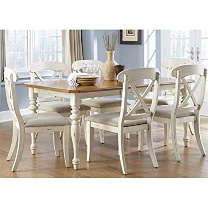 Liberty Furniture Ocean Isle Dining Optional 7 Piece Rectangular Table Set,  Bisque With Natural