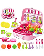 deAO Toys Little Chef Kitchen Mini Carry Case - Juego de Funda de Transporte portátil con Accesorios (Rosa)
