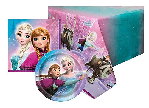 Disney FROZEN Kids Happy Birthday Party Supplies Table Cover Plates Napkins -