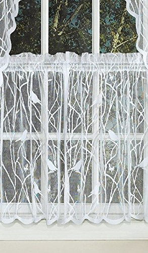 Canoro Bird Song Sheer Lace Kitchen Curtain Tier Pair - White (56
