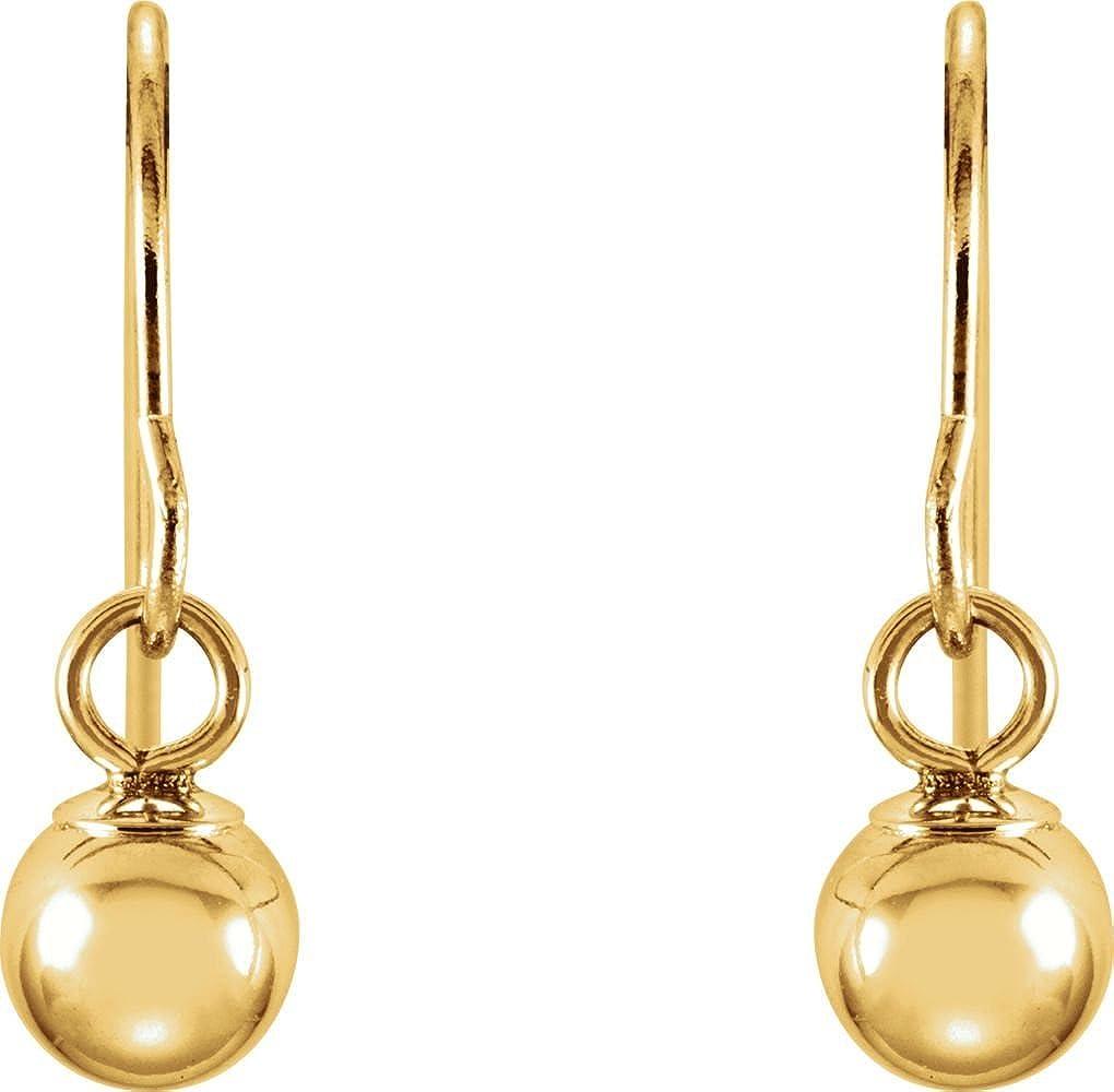 14k Yellow Gold 15x4mm Kids Bishop Hook Ball Earrings