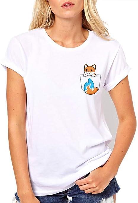 LIULINUIJ Camiseta De Mujer Lo Nuevo Popular Divertido Diseño Impreso Fox Camiseta Mujer Camiseta De Moda De Verano Camisa Divertida Bolsa tee Tops: Amazon.es: Deportes y aire libre