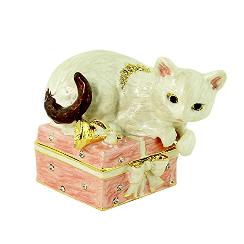 White Cat on Gift Box Trinket Box with Austrian Crystals Enameled Pewter (Enameled Kitty)