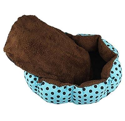 Warm Cozy Small Soft Plush Pet Dog Puppy Cat Polka Dot Bed House Cushion Random Color