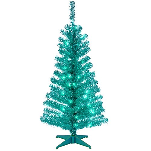 National Tree 4 Foot Turquoise Tinsel Tree with Plastic Stand and 70 Clear Lights (Turquoise Clear Light)