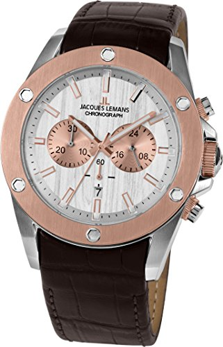 Jacques Lemans Men's Sport Liverpool 46mm Brown Leather Band Steel Case Quartz Analog Watch 1-1812B