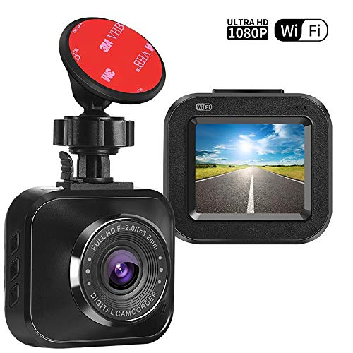 Trainshow Mini 2 Dash Cam 1080P HD Car Recorder Dashboard Camera with G-Sensor Built-in WiFi 120 Wide Angle Loop Recording Parking Monitoring Superior Night Mode
