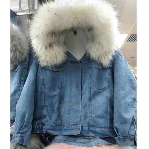 più di Nuovo giovane denim cappuccio con cappotto moda cotone cappotto invernali di pelliccia e di Vestiti collo giacca velluto ispessimento caldo breve autunnali grande gOnwTFx1