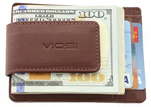 Viosi Genuine Kingston Leather Brown Front Pocket Money Clip Made with Powerful RARE EARTH Magnets and Gift Box