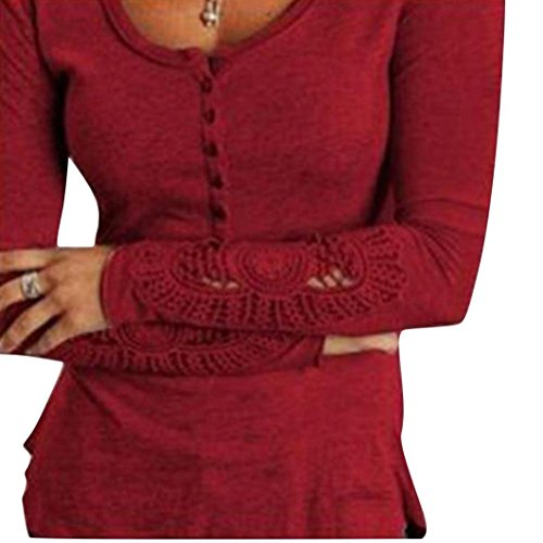 Gillberry Womens Long Sleeve Shirt Casual Lace Blouse Loose Cotton Tops T Shirt (S, Red)