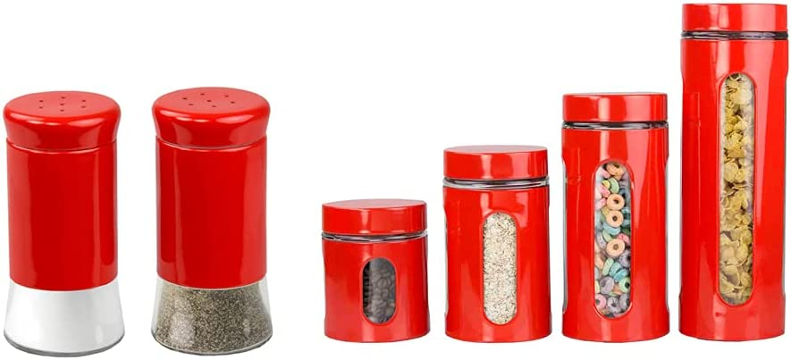 Home Basics Essence Collection 4-Piece Canister Set With Salt & Pepper Shakers Bundle in Red | Stainless Steel | Clear Glass Features | Air-Tight Seal | Kitchen Accessories