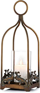 Sziqiqi Vintage Candle Lanterns Decorative Hurricane Candle Holder for Pillar Candle Rustic Hanging Candleholder Set Wall Decoration Table Top Decor for Wedding, Party, Reception Centerpiece, Size L