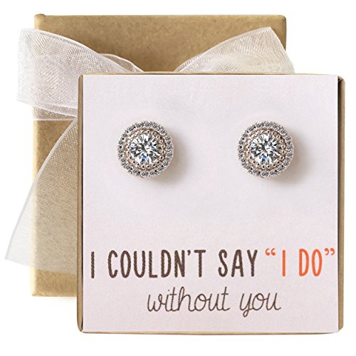 Bridesmaid Earrings Studs- 10 MM Cubic Zirconia in Silver, Gold or Rose Gold