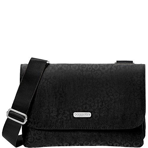 Baggallini Venture Travel Crossbody Bag, Black Cheetah, O...