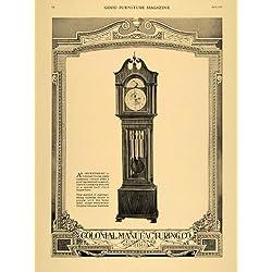 1921 Ad Colonial Manufacturing Co. Floor Clocks Antique - Original Print Ad