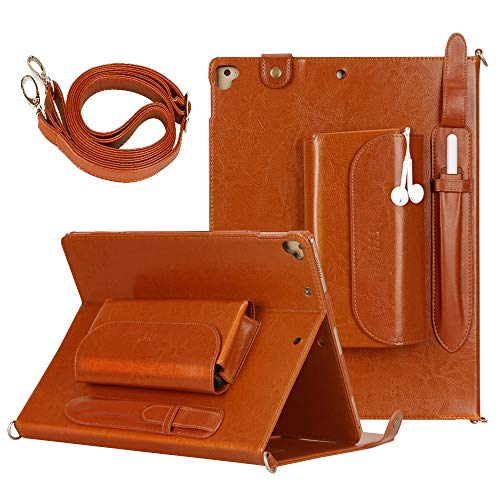 (FYY Genuine Leather Case for Apple iPad Pro 12.9 inch 2017/2015, Luxurious Genuine Leather Handmade Case Protective Cover Travel Sleeve Bag for iPad Pro 12.9 (Both 2017 and 2015 Models) Brown)