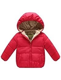 QJH Kids Boys Girls Fleece Lining Warm Puffer Jacket With Hood