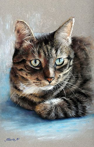 Custom memorial portrait of cat on canvas. Commission personalised artwork drawing of pet from artist. Commissioned gift. MUSEUM QUALITY! by Custom portrait commissions by Maria Mi