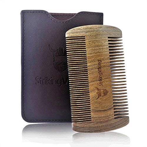 Wooden Beard Comb & Brown Leather Case by Striking Viking - Anti-Static Wood Pocket Comb with Fine & Coarse Teeth For Beard Hair & Mustaches - Perfect With Balms And Oils