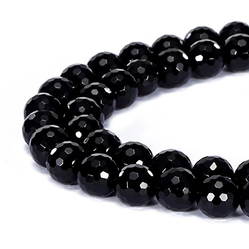 BRCbeads Gorgeous Natural Black Onyx Gemstone Faceted Round Loose Beads 8mm Approxi 15.5 inch 45pcs 1 Strand per Bag for Jewelry - Faceted Pendant Onyx