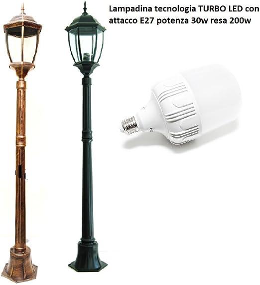 farol de jardín 180 cm de altura lámpara Turbo LED E27 30 W farolillo Mod cálido lámpara LED IP65 – Luz blanca Natural acabado Aluminio Bronce/Cobre: Amazon.es: Iluminación