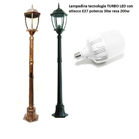 farol de jardín 180 cm de altura lámpara Turbo LED E27 30 W farolillo Mod cálido