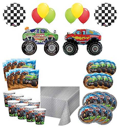 Mayflower Products Monster Truck Rally Birthday Party Supplies 8 Guest Decoration Kit with Green and Red Monster Truck Balloon Bouquet -