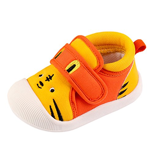 Annnowl Baby Sneakers Rubber Sole Cartoon Shoes (19 (US Size 6) (Insole Length-14 cm), Yellow Tiger) by Annnowl