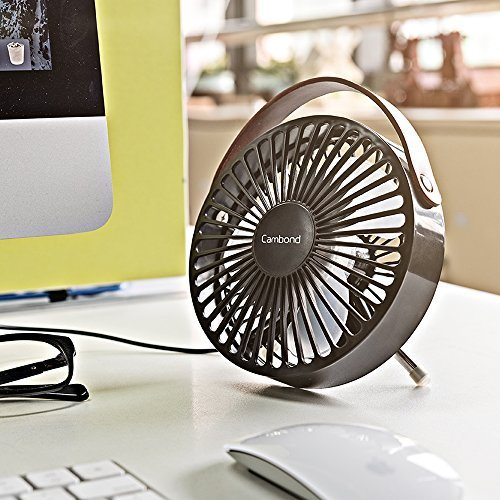 Cambond USB Desk Fan, Small Personal Fan Quiet Office Desktop Fan Easy to Clean Mini Table Fan Powerful Portable Fan with PU Leather Handle for Office Home Work Desk, Small Room, Bedroom, Black by Cambond (Image #1)