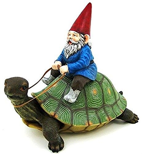 "Ky & Co YesKela Large Garden Gnome Riding Turtle Statue Patio Pool 17.25"" Long Figurine"