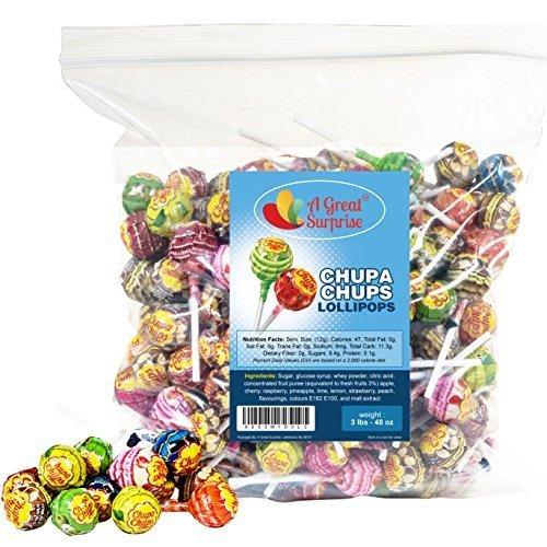 Chupa Chups Lollipops, Assorted Flavors, 3 LB Bulk Candy, 48 oz