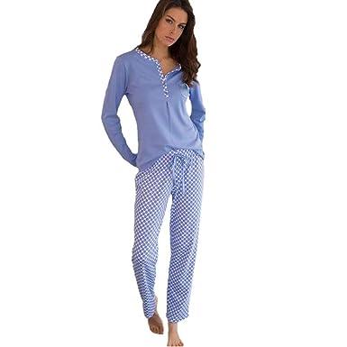 1dbc2fee2 MASSANA Pijama de Mujer de motas en algodón P681205 - Celeste