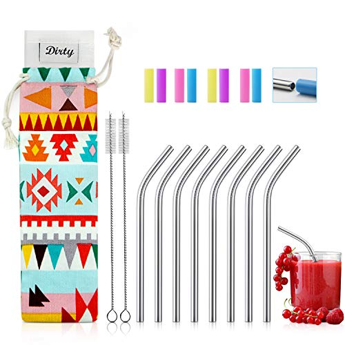 Teivio 8 Pack Short Stainless Steel Straws 6 inch Bent Metal Reusable Straws with Silicone Tips and Case, Cleaning Brush and Carry Bag for Cocktail Glasses, Small - Shorts Steel